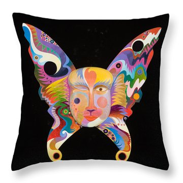 Butterfly Mask Throw Pillow by Bob Coonts