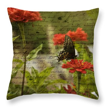 Butterfly Notes Throw Pillow