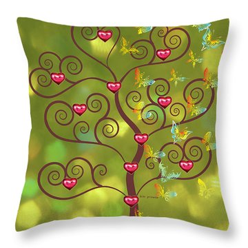Butterfly Of Heart Tree Throw Pillow by Kim Prowse