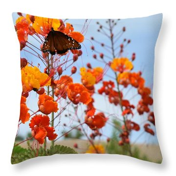 Butterfly On Bird Of Paradise Throw Pillow