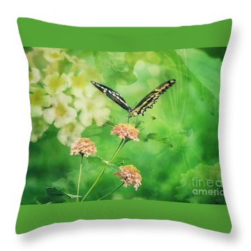 Butterfly On Lantana Montage Throw Pillow