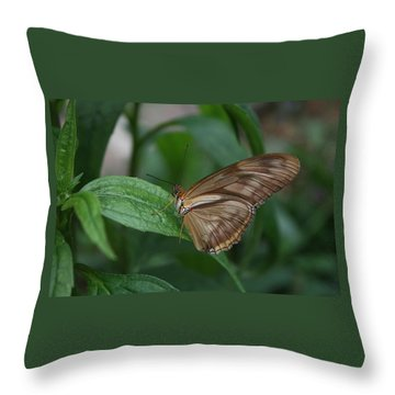 Throw Pillow featuring the photograph Butterfly On Leaf by Cathy Harper