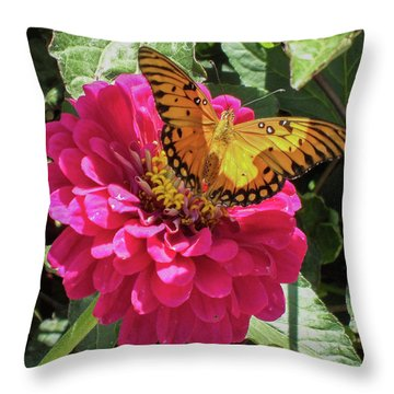 Butterfly On Pink Flower Throw Pillow