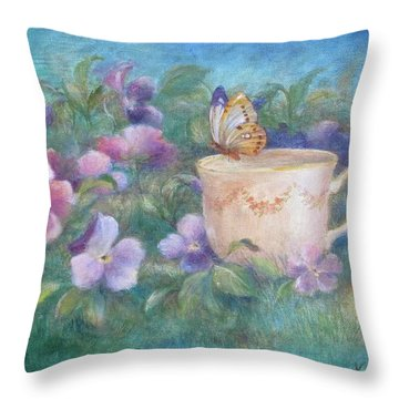 Butterfly On Teacup Throw Pillow