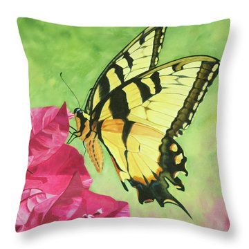 Butterfly On The Bougainvillea Throw Pillow