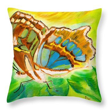 Malachite Butterfly Delight Throw Pillow by Meryl Goudey