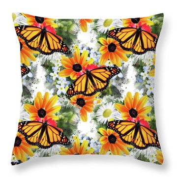 Throw Pillow featuring the mixed media Butterfly Pattern by Christina Rollo