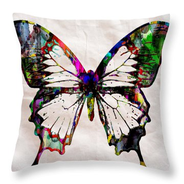 Butterfly Rainbow Throw Pillow