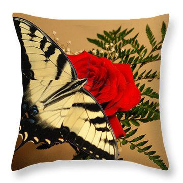 Butterfly Rose Throw Pillow