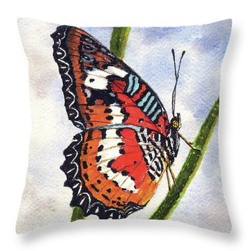 Throw Pillow featuring the painting Butterfly - 171012 by Sam Sidders