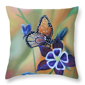 Throw Pillow featuring the painting Butterfly Series#4 by Dianna Lewis