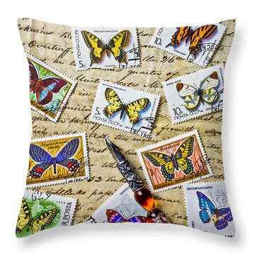 Butterfly Stamps And Old Document Throw Pillow by Garry Gay