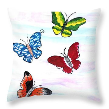 Butterfly Tag Throw Pillow