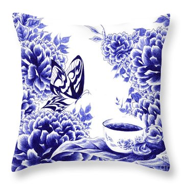 Butterfly Teatime Throw Pillow