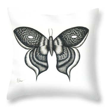 Burst Butterfly Drawing Throw Pillow