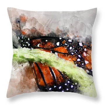 Throw Pillow featuring the photograph Butterfly Watercolor by Michael Colgate