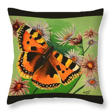 Butterfly With Asters Throw Pillow by Donna Blossom