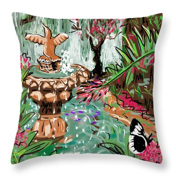 Butterfly World Throw Pillow by Jean Pacheco Ravinski