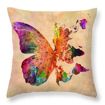 Butterfly World Map  Throw Pillow by Mark Ashkenazi