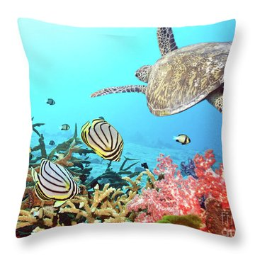 Butterflyfishes And Turtle Throw Pillow
