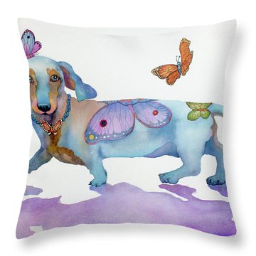 Butterfly Doxie Doo Throw Pillow