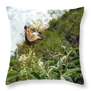 Butterly Flowers Throw Pillow