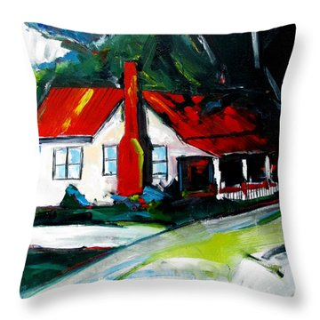 Throw Pillow featuring the painting Butlers Crossing by John Jr Gholson