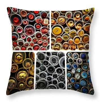 Button Up Throw Pillow by Hans Fotoboek