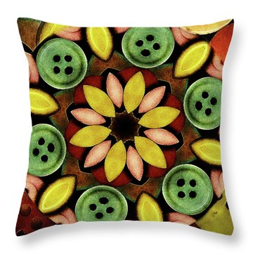 Buttons Abstract Throw Pillow by Bonnie Bruno