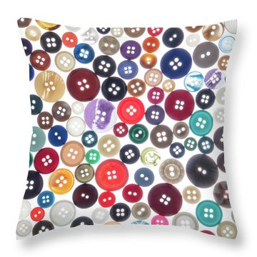 Buttons Throw Pillow by Jim Hughes