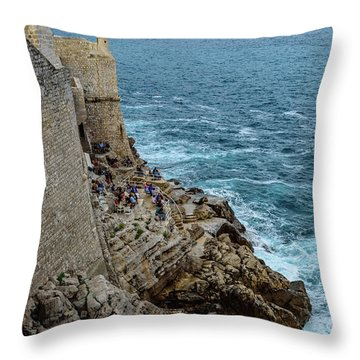 Buza Bar On The Adriatic In Dubrovnik Croatia Throw Pillow