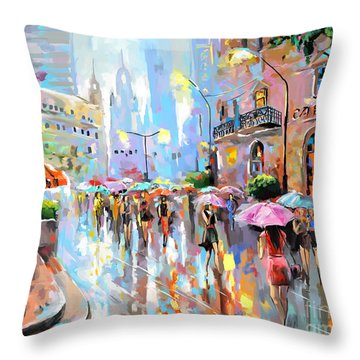 Buzy City Streets Throw Pillow