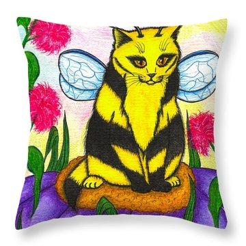 Buzz Bumble Bee Fairy Cat Throw Pillow