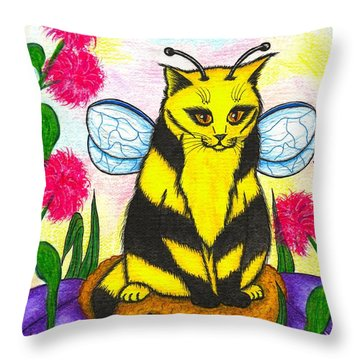 Buzz Bumble Bee Fairy Cat Throw Pillow