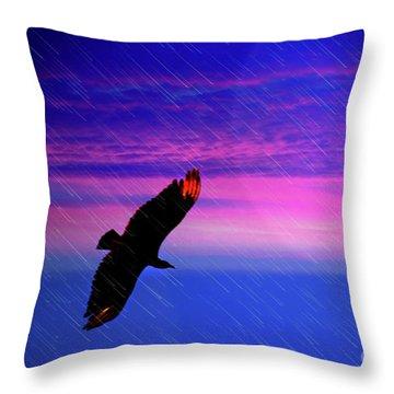 Throw Pillow featuring the photograph Buzzard In The Rain by Al Bourassa