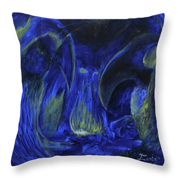 Throw Pillow featuring the painting Buzzards Banquet by Christophe Ennis