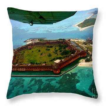 Buzzing The Dry Tortugas Throw Pillow
