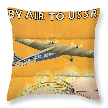 By Air To Ussr With The Soviet Union's Chief Cities - Vintage Poster Folded Throw Pillow