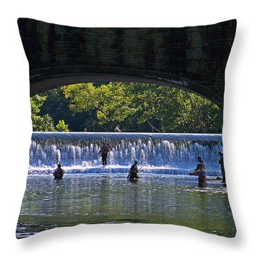 By The Bridge Throw Pillow by Julie Grace