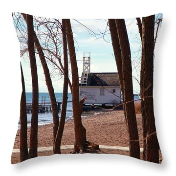 Throw Pillow featuring the photograph By The Lake by Valentino Visentini