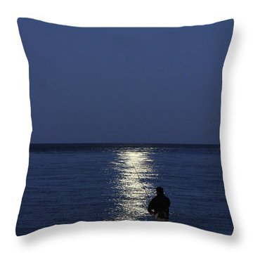 By The Light Of The Supermoon Throw Pillow by John Loreaux
