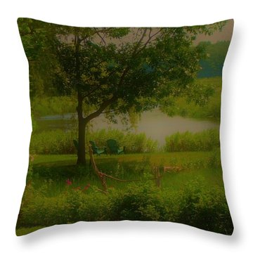 By The Little River Throw Pillow