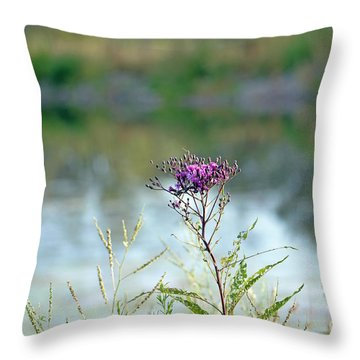 Throw Pillow featuring the photograph By The Pond by Lila Fisher-Wenzel
