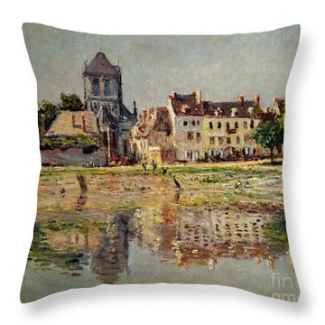 By The River At Vernon Throw Pillow by Claude Monet