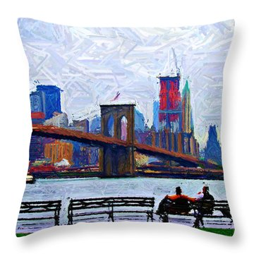 By The Water Too Sketch Throw Pillow by Randy Aveille