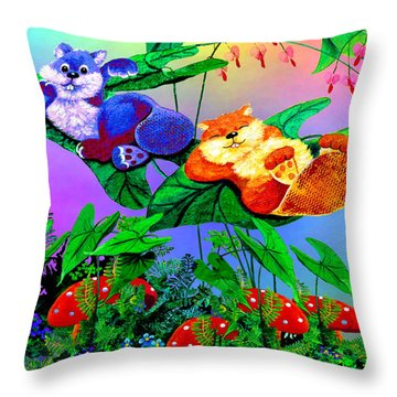 Bye-bye Beaver Buddy Throw Pillow by Hanne Lore Koehler
