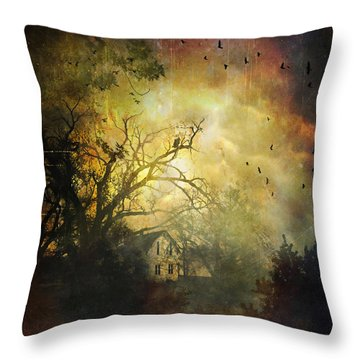 Bygone House On The Hill Throw Pillow