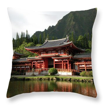 Throw Pillow featuring the photograph Byodo-in Temple, Oahu, Hawaii by Mark Czerniec