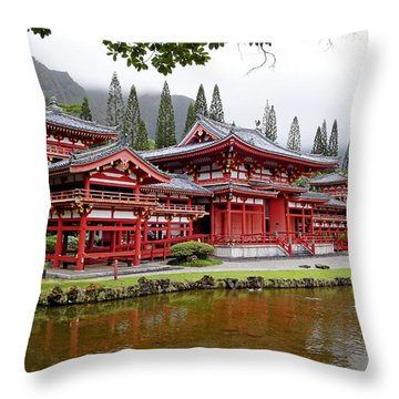 Byodo-in Temple Oahu Throw Pillow