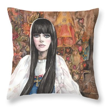 Byzantine Madonna Throw Pillow
